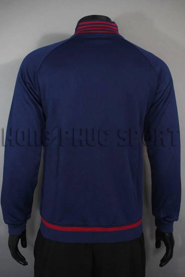 Lưng áo khoác barcelona 2015-2016 xanh bích phối đỏ