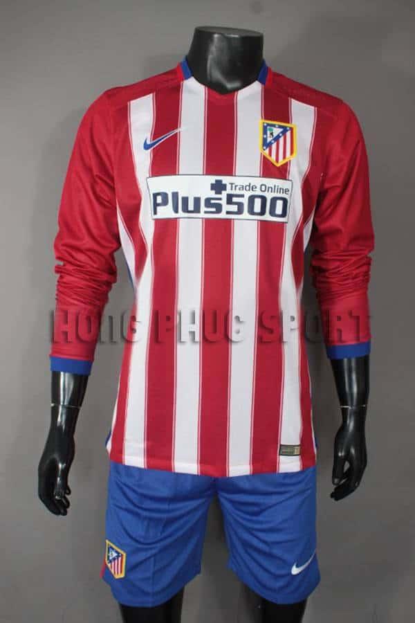 Bộ quần áo đá banh Atletico Madrid tay dài 2015-2016 sân nhà hàng Thái Lan fake 1