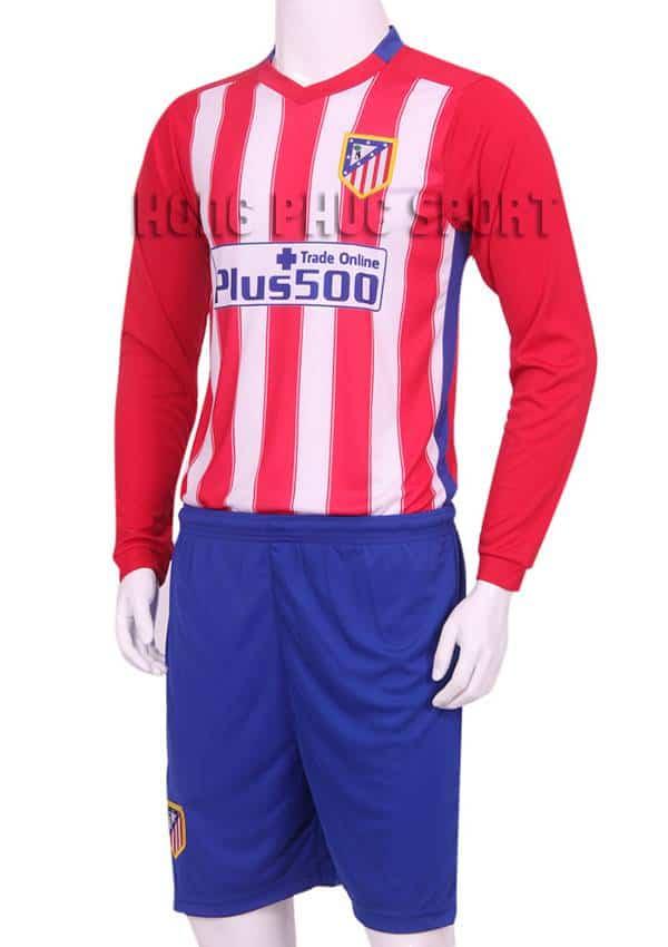 Mẫu áo đá banh Atletico Madrid tay dài 2015-2016 sân nhà hàng thun lạnh Việt Nam