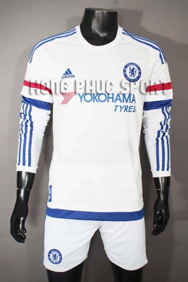 Mẫu áo Chelsea tay dài 2015/16 sân khách màu trắng hàng Thái super fake