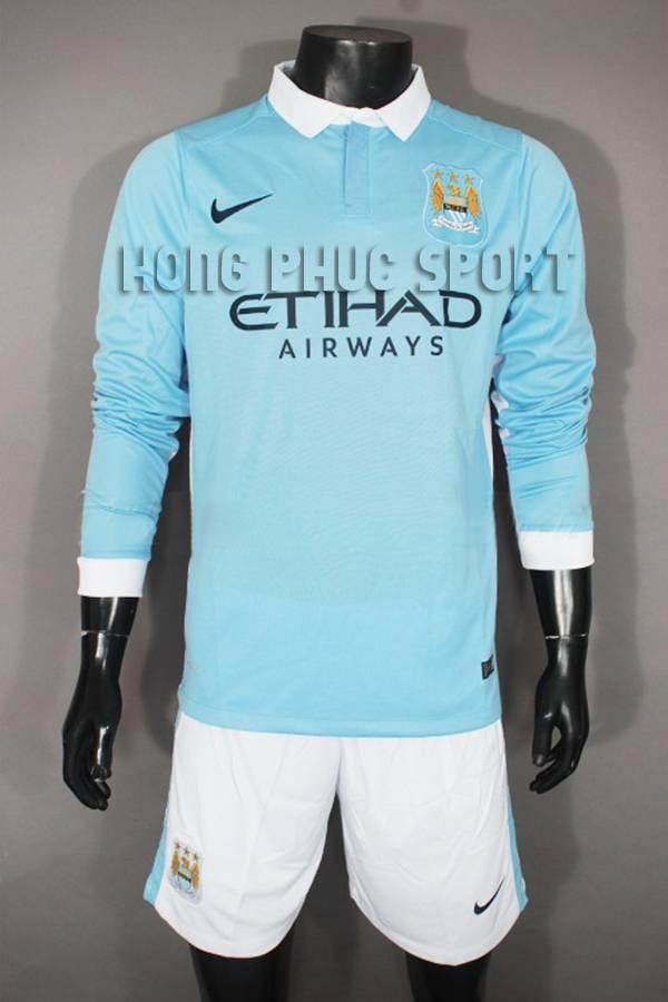 mẫu áo Manchester City tay dài 2015-2016 sân nhà