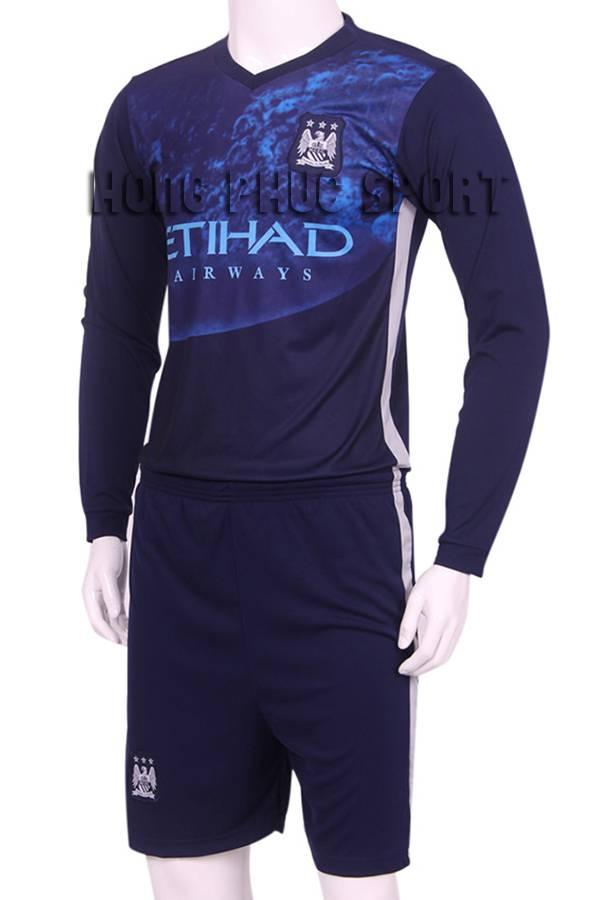 Bộ quần áo tập Man City tay dài 2015-2016 xanh tím than