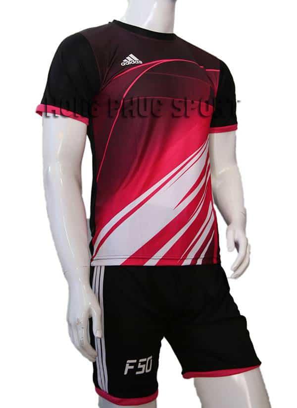 Bộ quần áo đá banh F50 đỏ phối đen không logo 2015-2016