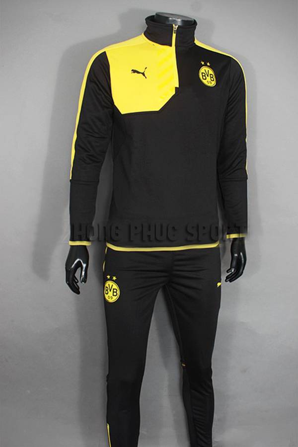 Mẫu quần áo khoác Dortmund đen phối vàng 2015-2016