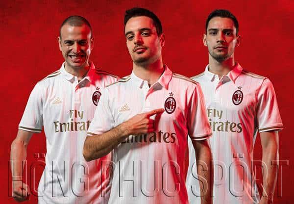 Mẫu áo AC Milan 2016 2017 sân khách màu trắng sữa