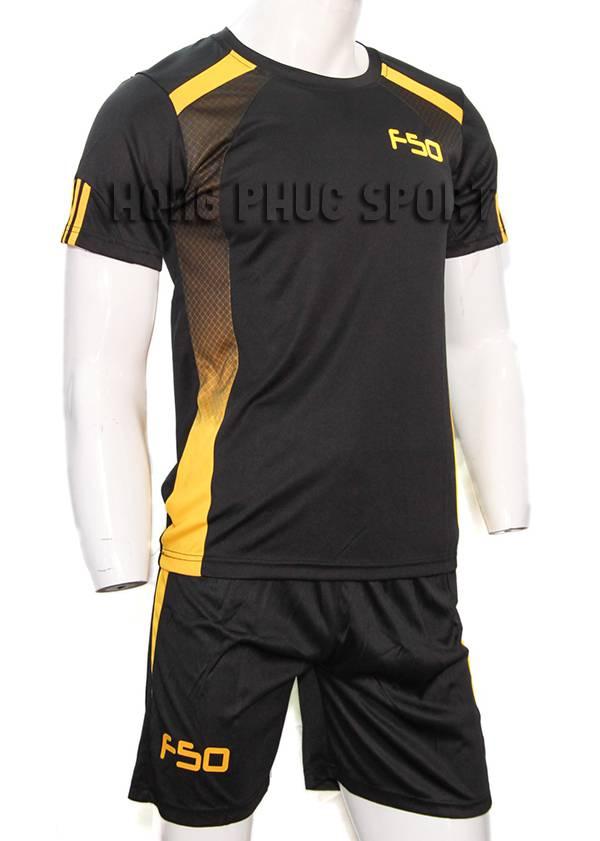 Bộ quần áo F50 đen phối vàng không logo 2015-2016