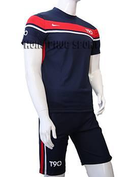 Bộ quần áo T90 tím than phối đỏ không logo 2015-2016