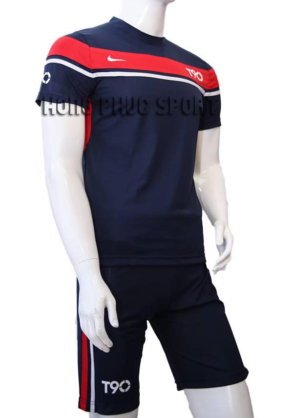 Đồ đá banh áo T90 tím than phối đỏ không logo 2015-2016