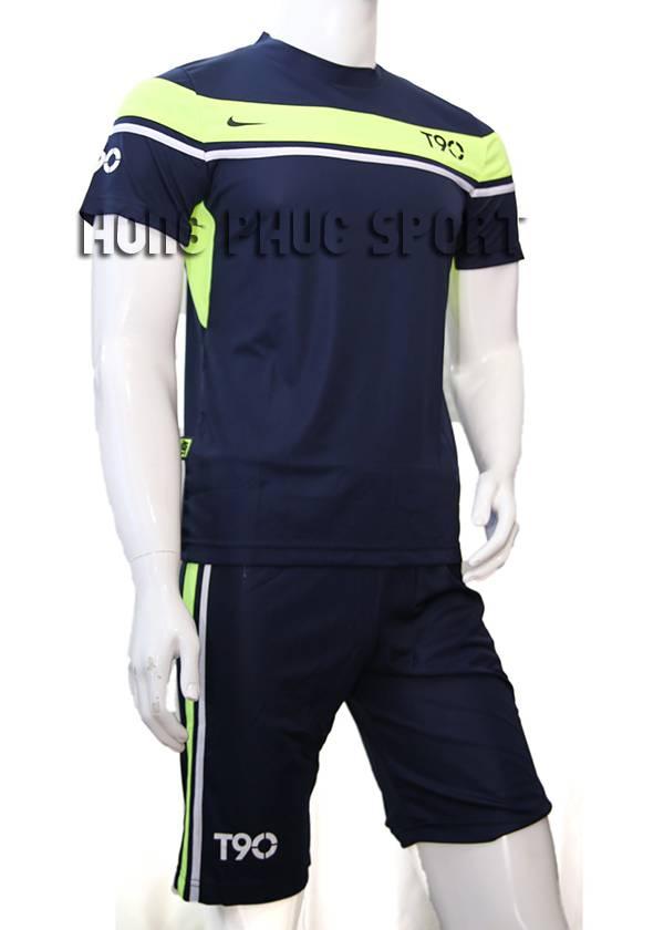 Mẫu áo đá banh áo T90 tím than phối xanh chuối 2015-2016