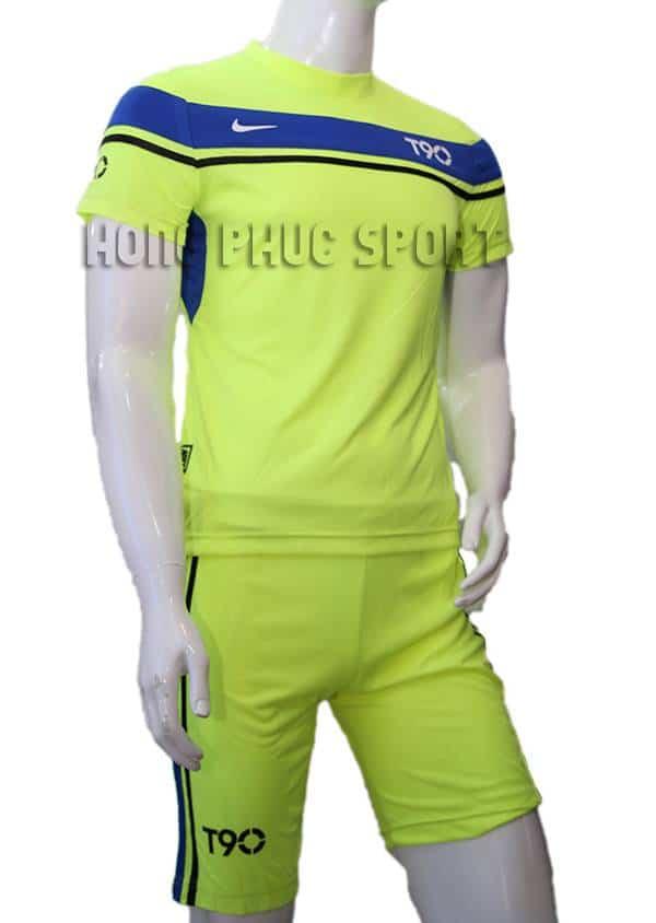 Bộ quần áo đá banh áo T90 xanh chuối không logo 2015-2016