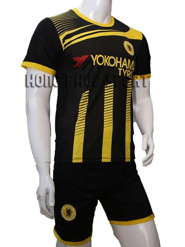 Bộ quần áo đá banh training chelsea 2015-2016 đen phối vàng