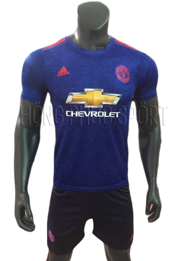 Bộ quần áo đấu Manchester United 2016 2017 sân khách màu xanh