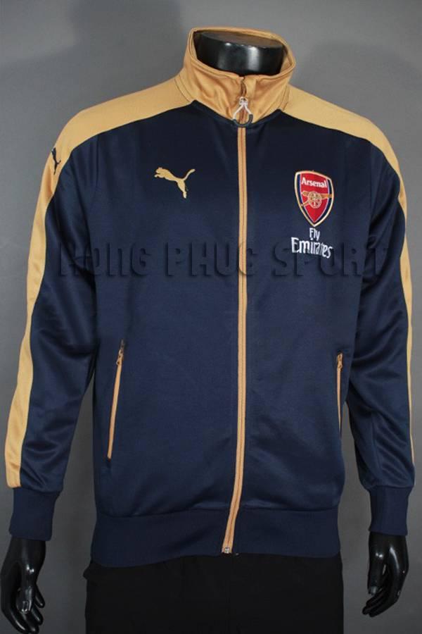 Đồ đá banh áo khoác Arsenal 2015-2016 tím than phối vàng đồng