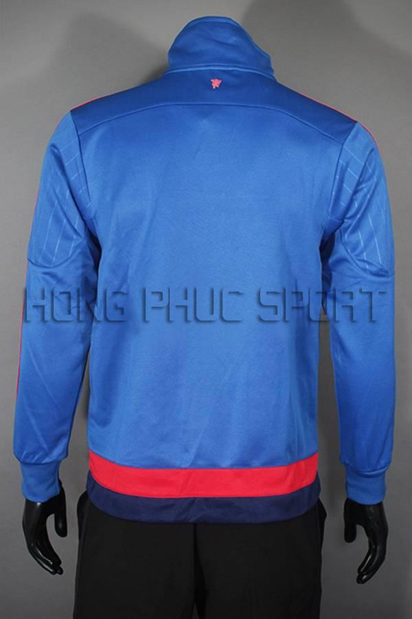 Đồ đá banh áo khoác MU xanh 2015-2016 Super Fake Thái Lan