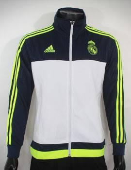 Mẫu áo khoác Real 2015-2016 trắng xanh super fake Thái Lan