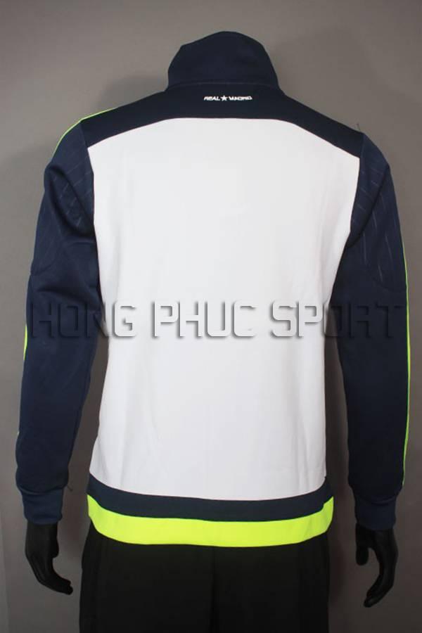 Mặt sau áo khoác Real 2015-2016 trắng xanh super fake Thái Lan