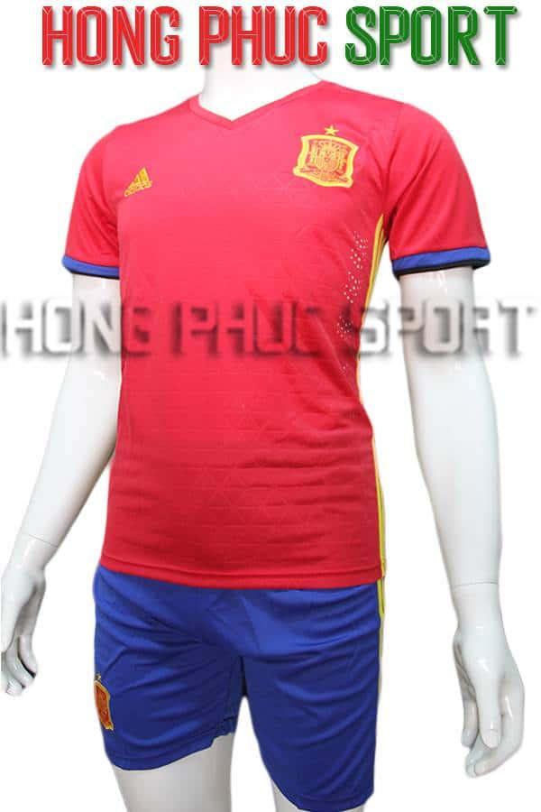 Bộ quần áo tuyển Tây Ban Nha Euro 2016 màu đỏ truyền thống