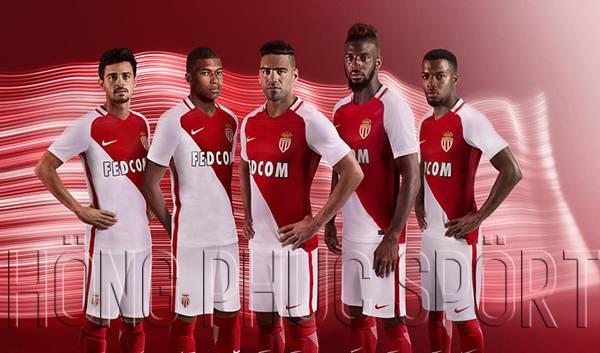 Bộ quần áo đấu AS Monaco 2016 2017 sân nhà đỏ sọc trắng