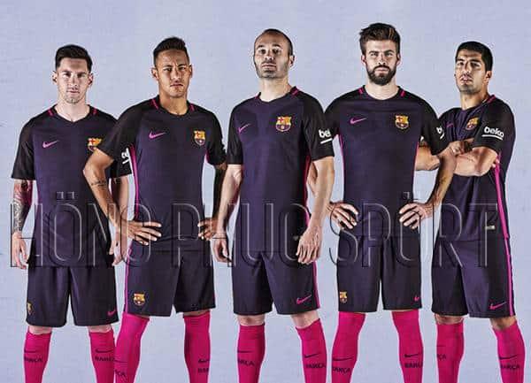 Bộ quần áo Barcelona 2016-2017 sân khách màu tím