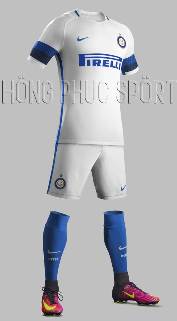 Bộ quần áo Inter Milan 2016-2017 sân khách mầu trắng viền xanh