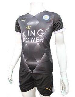 Mẫu quần áo Leicester City 2015 2016 sân khách màu đen 3D
