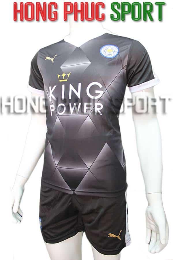 Bộ quần áo Leicester City 2015 2016 sân khách màu đen 3D