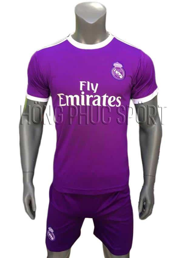 Bộ quần áo Real Madrid 2016 2017 sân khách màu tím