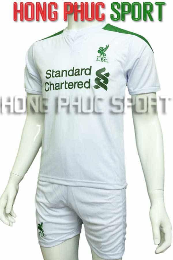 Bộ quần áo Fan Liverpool 2016 2017 trắng xanh