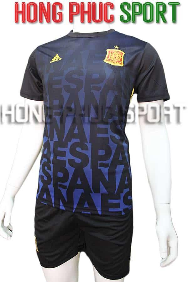 Bộ quần áo training tuyển Tây Ban Nha Euro 2016 2017 xanh tím than