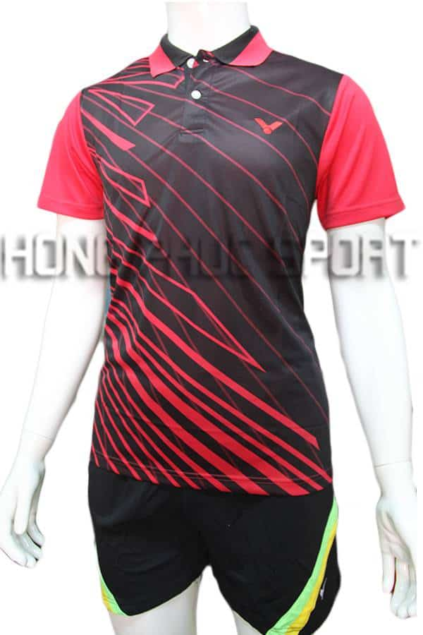 Quần áo cầu lông nam Victor VT01 hồng phối đen