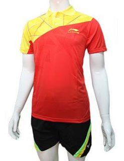 Mẫu áo cầu lông nam Lining NB02 đỏ phối vàng