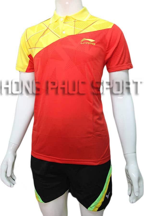 Quần áo cầu lông nam Lining NB02 đỏ phối vàng