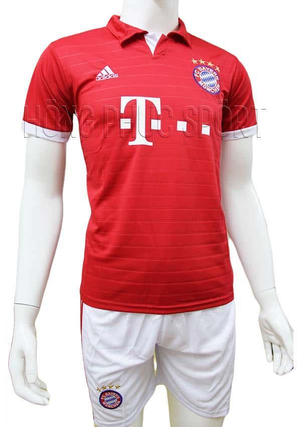 Bộ quần áo đấu Bayern Munich 2016 2017 sân nhà mầu đỏ có cổ