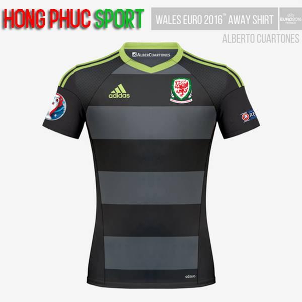 Mẫu áo đấu tuyển Xứ Wales Euro 2016 2017 sân khách mầu đen