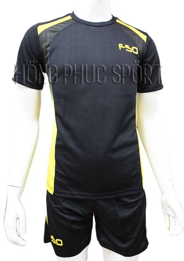 Bộ quần áo F50 đen phối vàng không logo 2016 2017