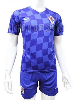 Mẫu quần áo đấu đội tuyển Croatia Euro 2016 2017 sân khách màu xanh