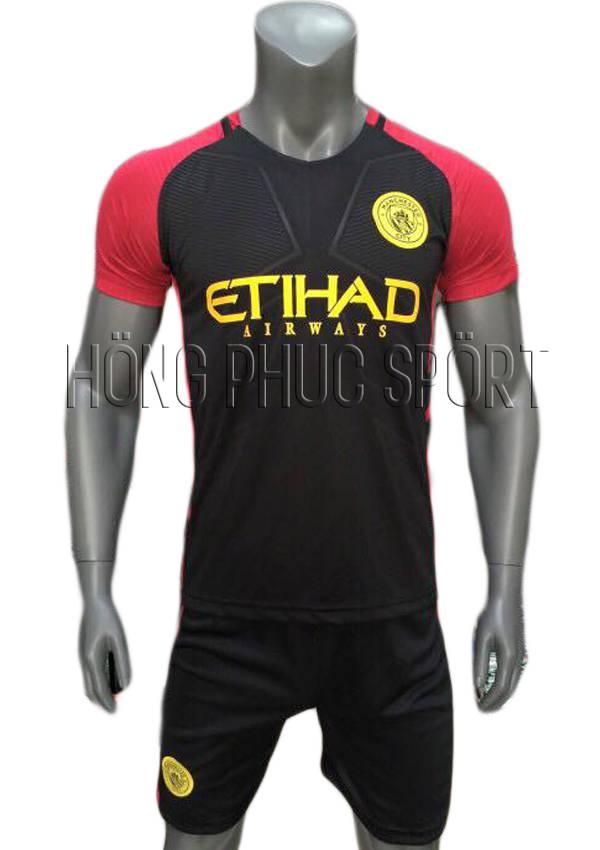 Bộ quần áo Man City 2016 2017 sân khách đen phối đỏ