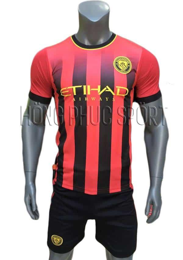 Bộ quần áo Man City 2016 2017 sân khách sọc đỏ đen