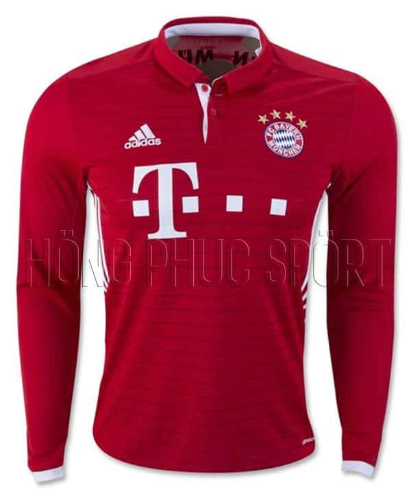 Áo Bayern Munich tay dài 2016 2017 sân nhà mầu đỏ