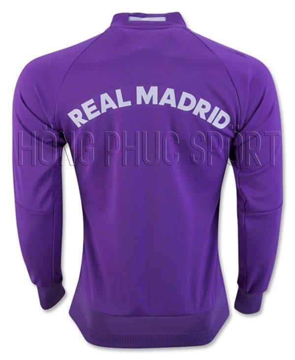 Áo khoác Real Madrid 2016 2017 màu tím - Mặt sau