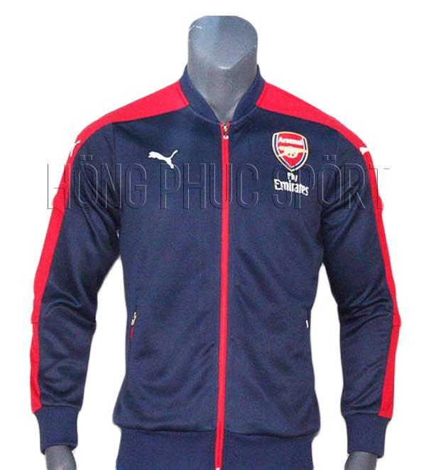 Mẫu áo khoác Arsenal 2016 2017 tím than phối đỏ
