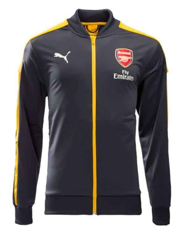 Áo khoác Arsenal 2016 2017 xám phối vàng