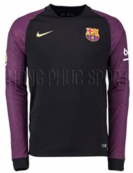 áo Barcelona tay dài 2016 2017 sân khách đen viền tím