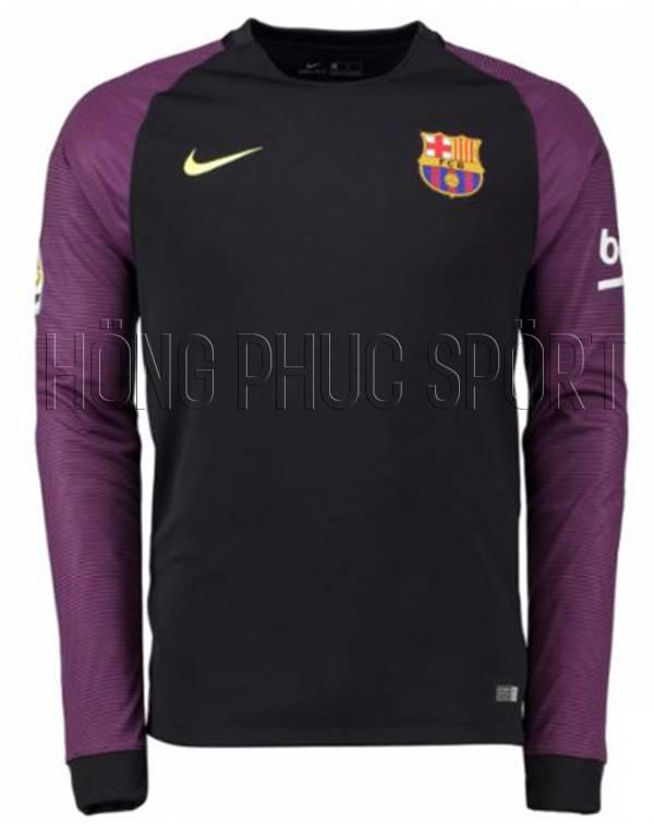 Đồ đá banh áo Barcelona tay dài 2016 2017 sân khách đen viền tím