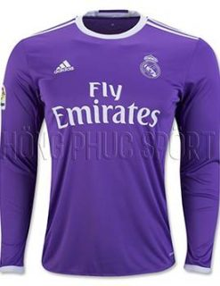 Đồ đá banh áo Real Madrid tay dài 2016 2017 sân khách mầu tím