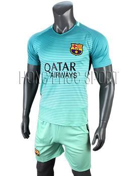 Quần áo đấu Barcelona 2016 2017 sân khách mẫu 3 xanh ngọc