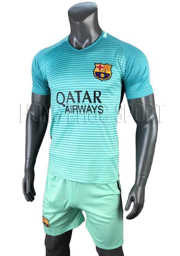 Bộ quần áo đấu Barcelona 2016 2017 sân khách mẫu 3 xanh ngọc