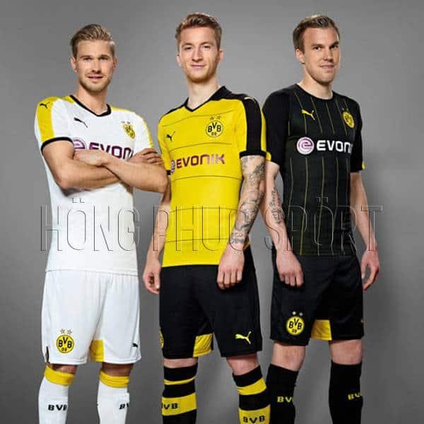 Mẫu áo đấu Borussia Dortmund 2015 2016 sân nhà sân khách và mẫu thứ ba