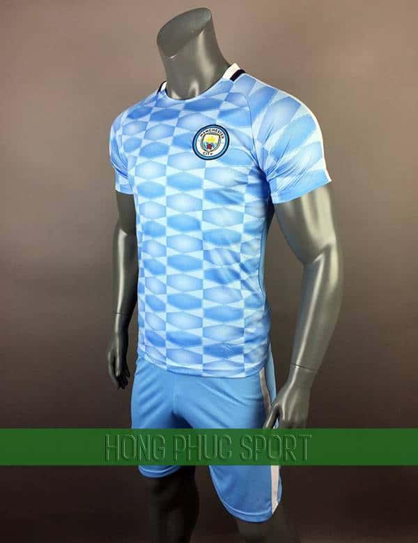 Bộ quần áo training Manchester City 2017 2018 xanh biển