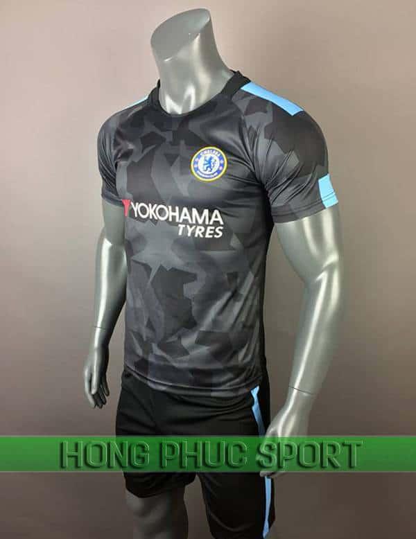Bộ quần áo đấu Chelsea mẫu thứ ba 2017 2018 màu xám đen